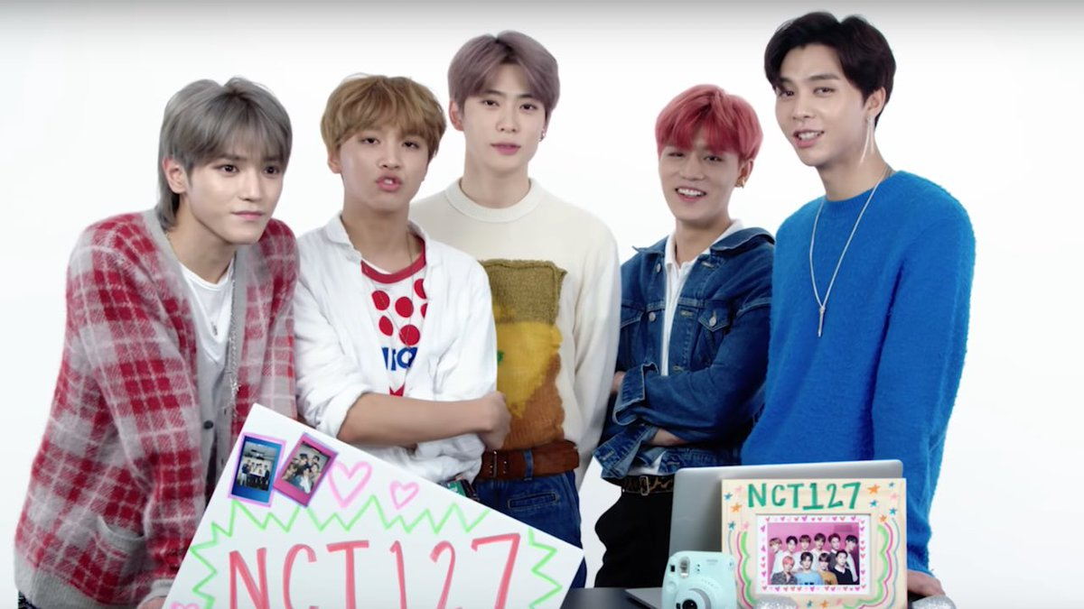 I NEED HELP! so im not into nct 127 and idk who any members are lol... who's the one w the mullet farthest on the left ?? thanks loves ♥️ #kpop #nct127