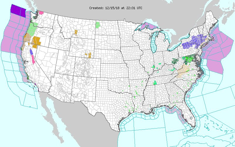 Flash Flood Watches are up in the Mid-Atlantic, and Winter Weather Advisories in the NE. <br>http://pic.twitter.com/BYfTv5Pr8t