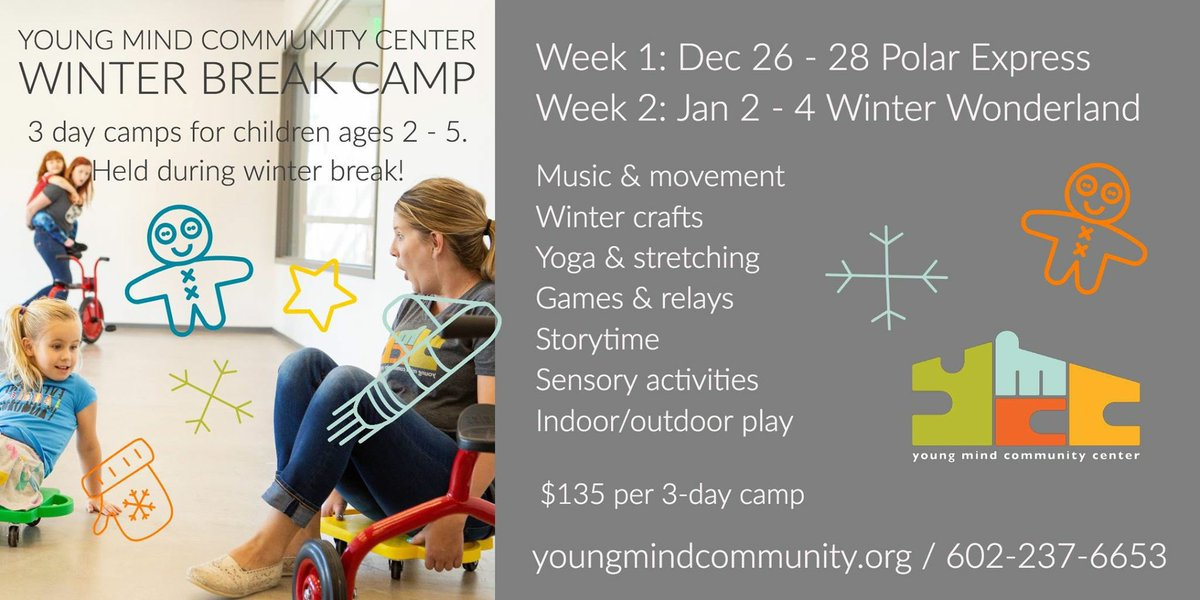 ICYMI: Our #Holiday #Camps will be here before you know it! These hands-on #educational activities are sure to stimulate your child's mind as well as their muscles with meaningful #play. Register by calling 602-237-6653.