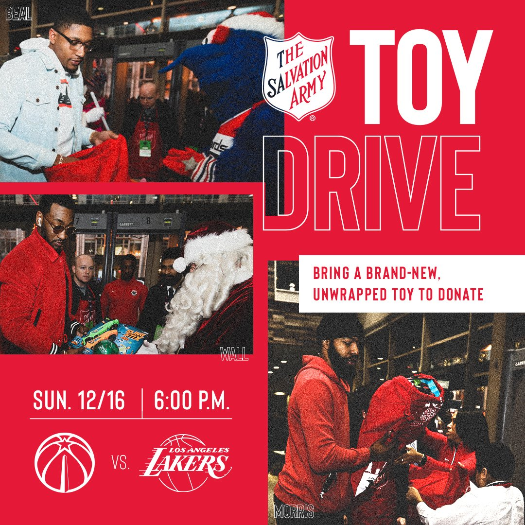 All fans coming to #WizLakers tomorrow night, remember to bring an unopened present! 🎁🎁  #WizCares | #DCFamily
