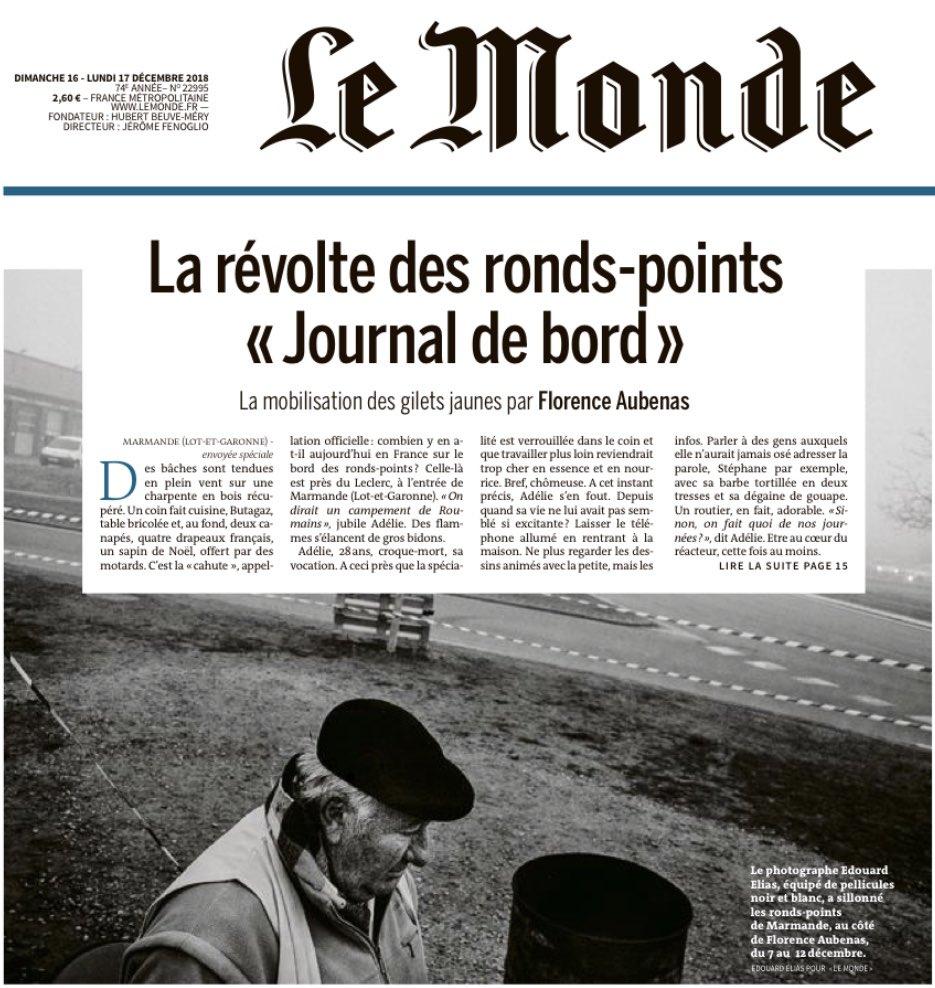 Le long reportage de Florence Aubenas dans @lemondefr auprès des «gilets jaunes» de Marmande (Lot-et-Garonne) réunit toutes les qualités du grand journalisme : un regard aigu, la retenue et la distance, une écriture ciselée. Bref, c'est «du Aubenas»...