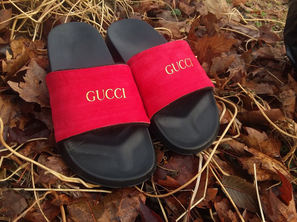 9fa50d76718 ... my  etsy shop  Unisex Red Suede Gucci Inspired Slides With Gold Foil  Logo - Sandals - Slippers https   etsy.me 2CgYXGj  clothing  shoes  men   black  red ...