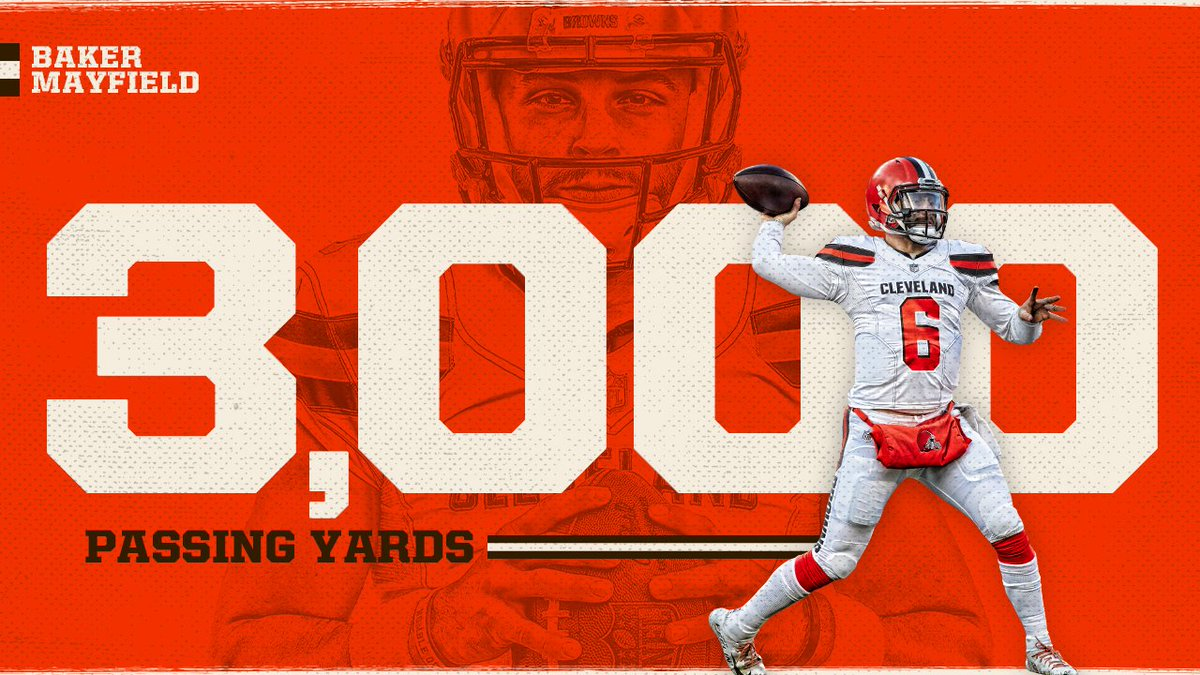 Got the W ☑️ Eclipsed 3,000 passing yds. on the year ☑️  Congrats, @bakermayfield 👏👏
