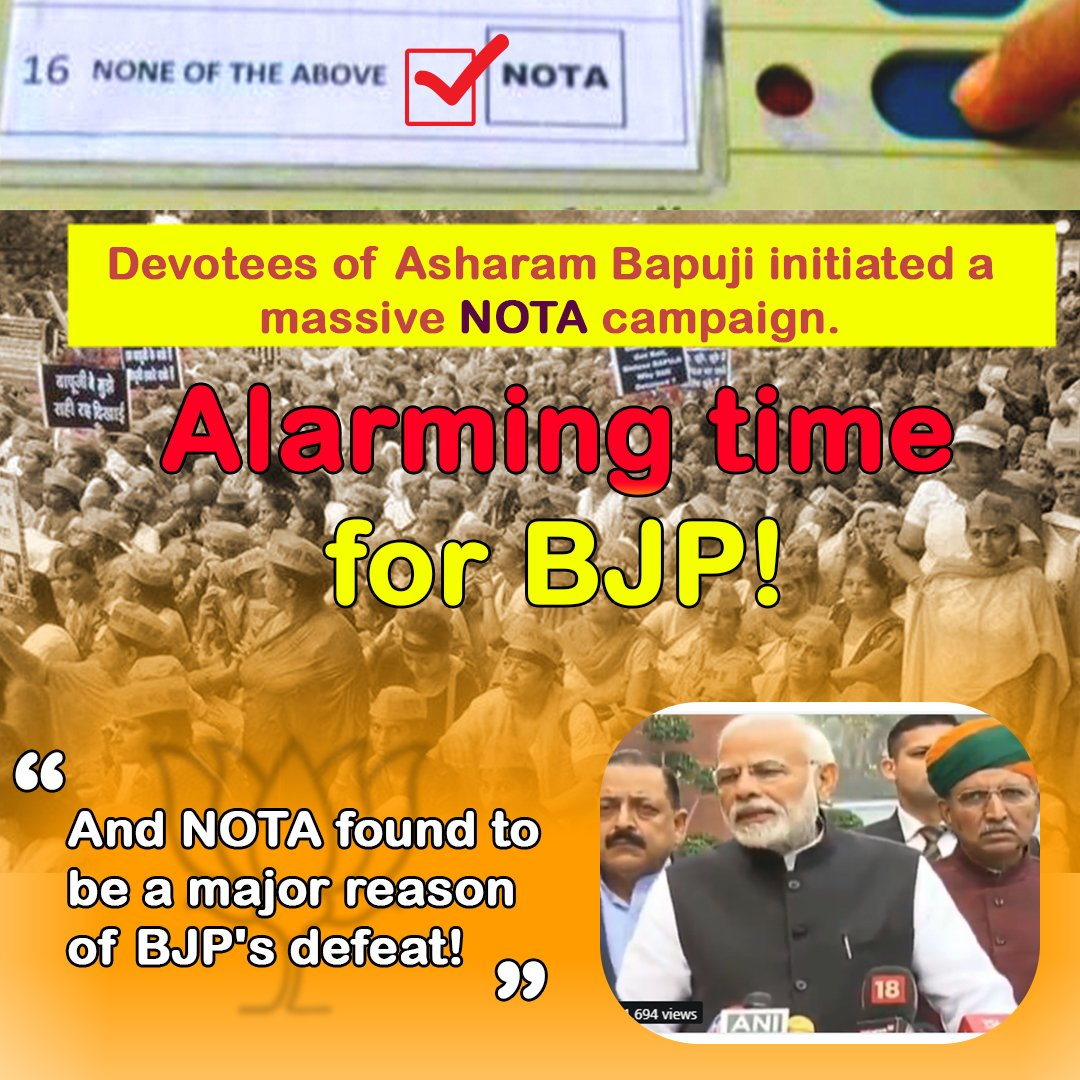 In Recent election, approx 6 lacs people opted for NOTA, which is clearly indicative that People were dissatisfied with the Rule/policies of BJP, that&#39;s #WhyBJPLostElection<br>http://pic.twitter.com/djeTpHTmvy