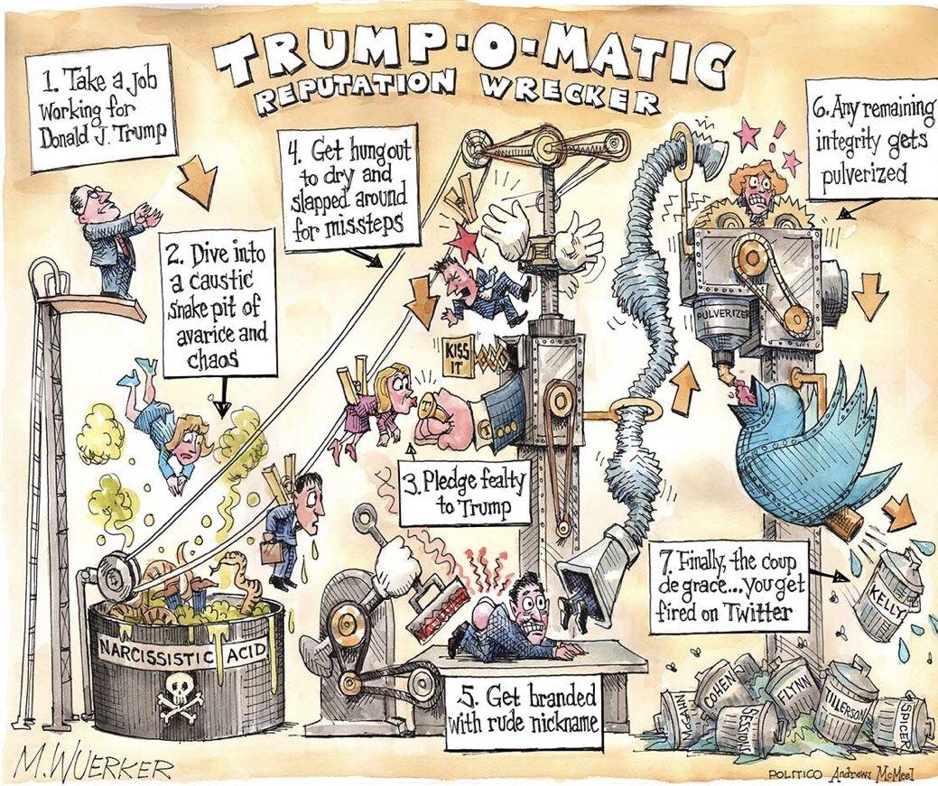 Trump-o-matic reputation wrecker cartoon by @wuerker.
