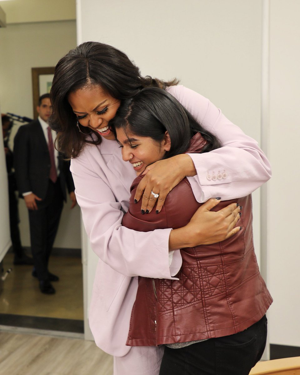 Today on our story: we're with the one and only @MichelleObama. Tune in to see Mrs. Obama in conversation with 16-year-old speech activist @riyakatariax #IAmBecoming instagram.com/p/Brbj7TLAm9d/