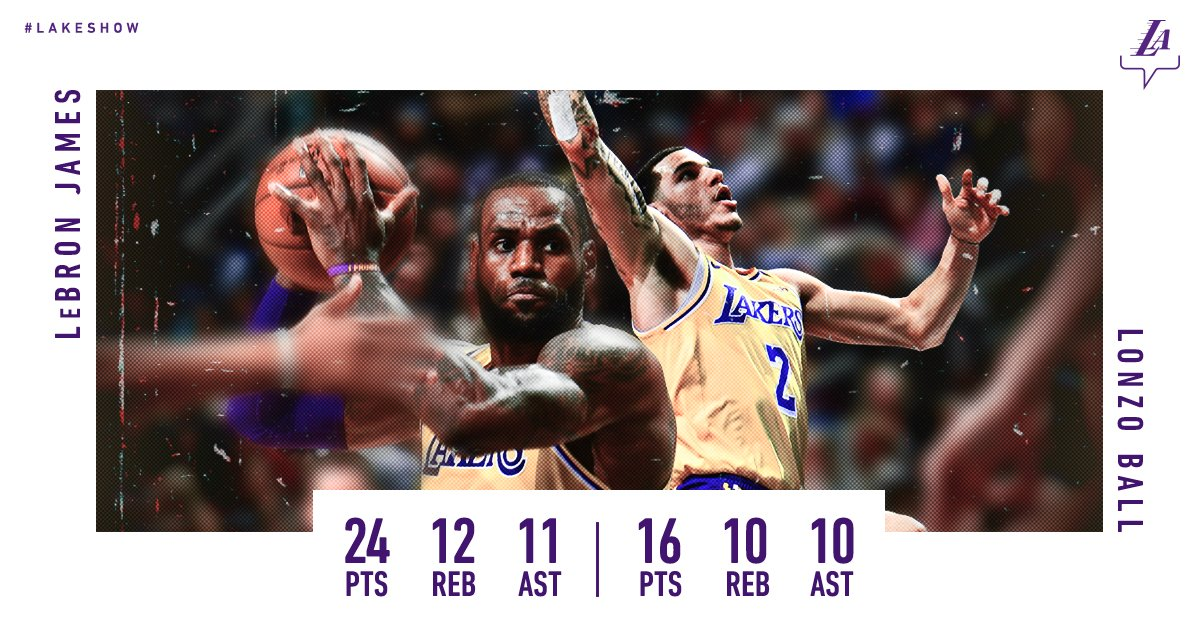 Triple-Double Duo. First Lakers teammates to do it since Magic & Kareem �� https://t.co/WYdj0VsY19