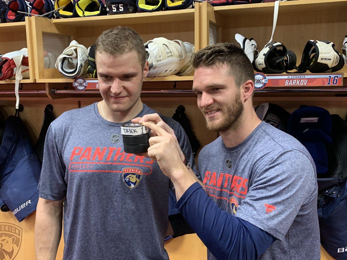 .@Barkovsasha95 celebrates 1st NHL hat trick with @JonnyHuby11
