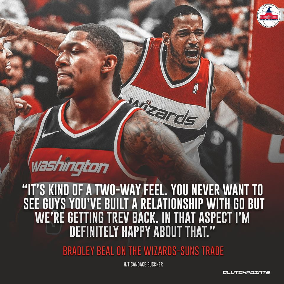 Tough to see Kelly Oubre go, but Bradley Beal is ready to re-embrace Trevor Ariza.  #Wizards #DCFamily