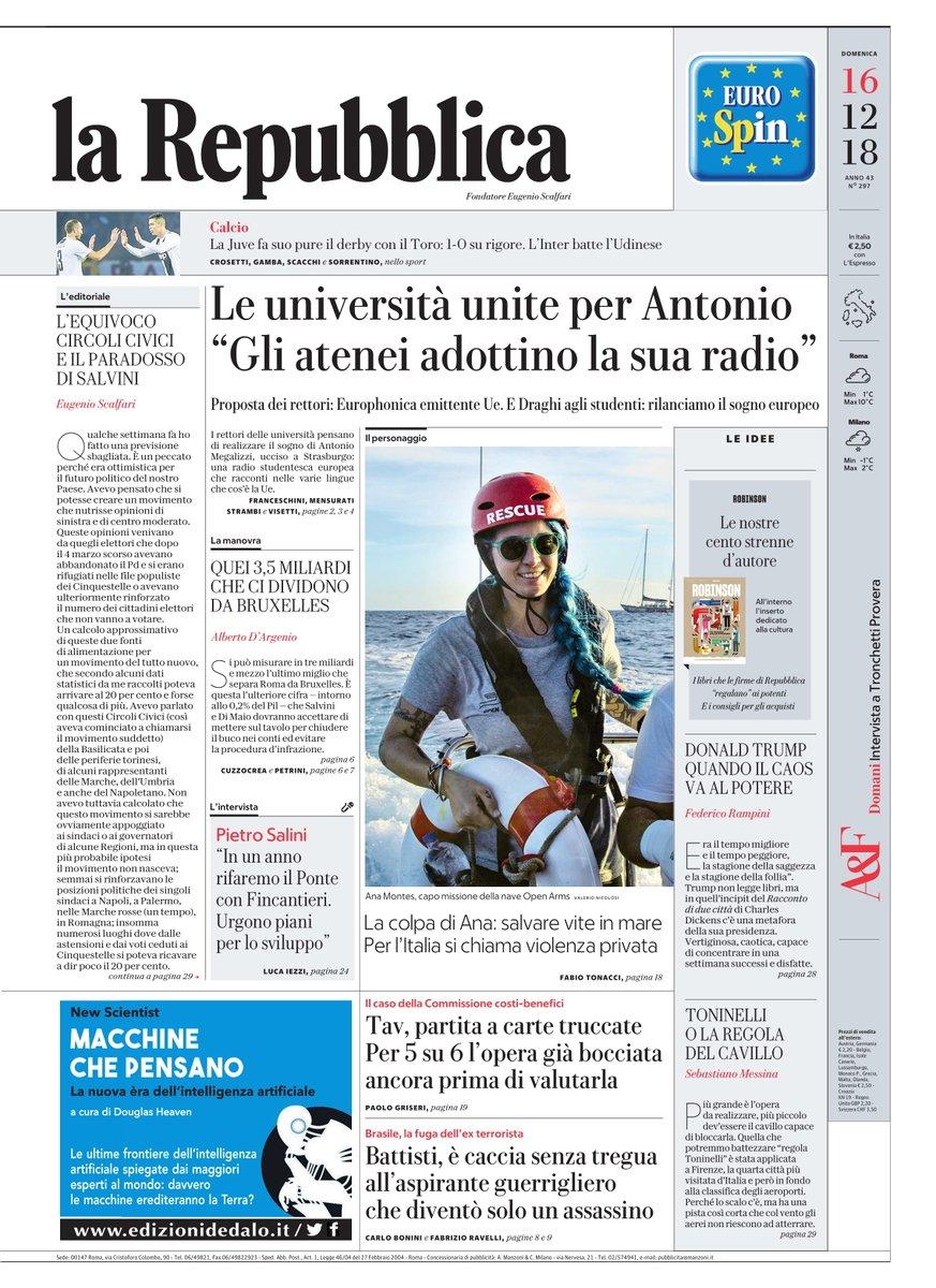 Le università unite per #AntonioMegalizzi: 'Gli atenei adottino la sua radio' - #Buongiorno con la #primapagina di Repubblica di oggi #16dicembre https://t.co/LZaZp2FObT #rassegnastampa