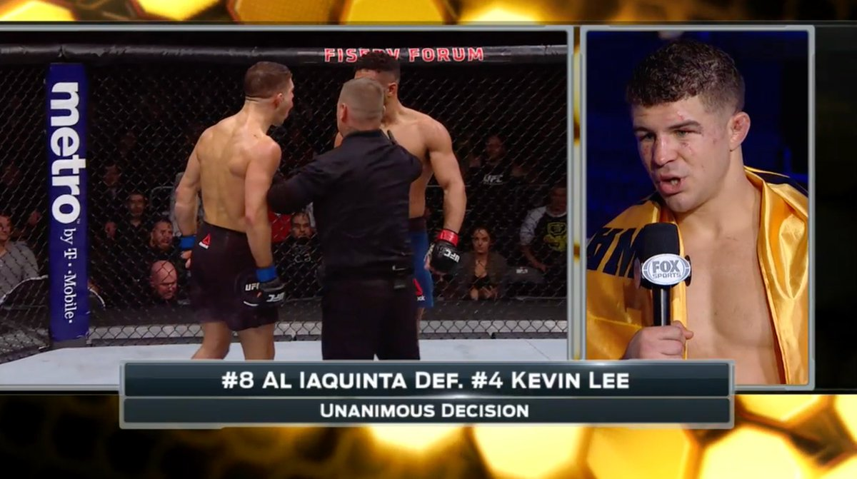 """""""I was prepared for 5 rounds. I was prepared for Kevin Lee."""" @ALIAQUINTA went to war, and came out on top!"""