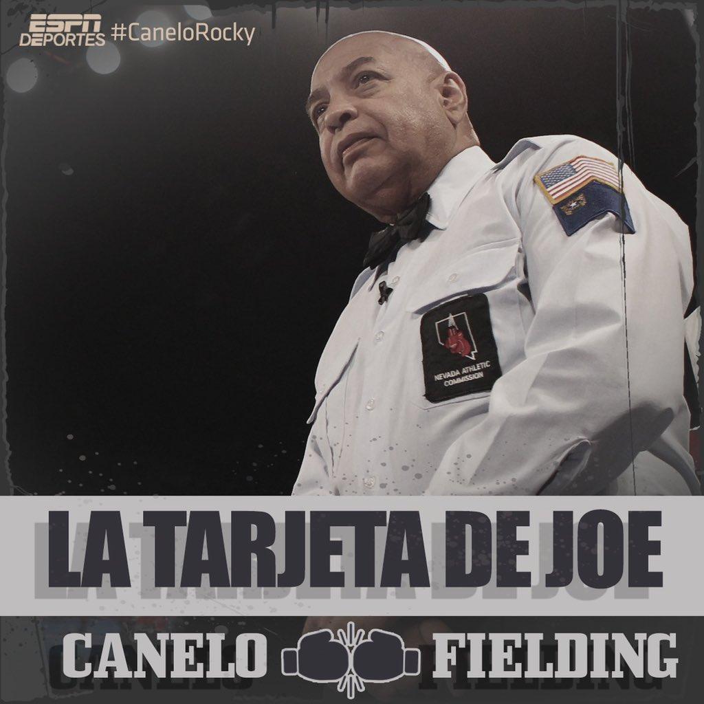 R1. Con golpes al higado, Canelo tira a lona a Fielding.   Canelo 10 Fielding 8  #CaneloRocky