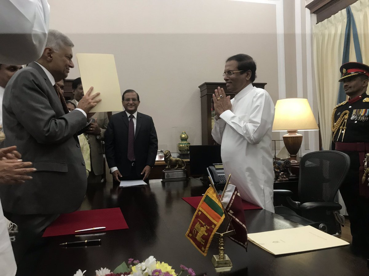 Hon. @RW_UNP has been sworn in as the Prime Minister.   We thank the citizens of the country who fought the illegal seizure of power and ensured that Democracy was restored.  #lka #SriLanka #coupLK