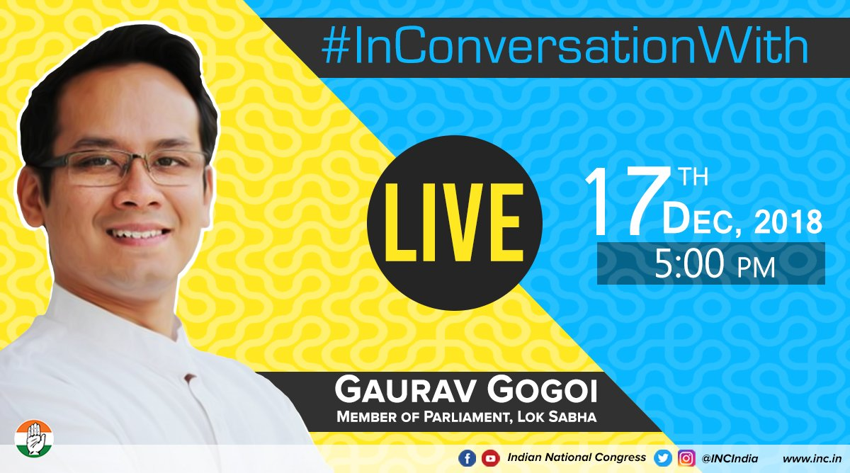 In our next episode of the series, we will be #InConversationWith @GauravGogoiAsm  He will be answering your questions live on 17th December at 5pm across our social media platforms. Stay tuned.   Facebook: https://t.co/DFczgurKuZ…  Instagram: https://t.co/71mhq7vgm8