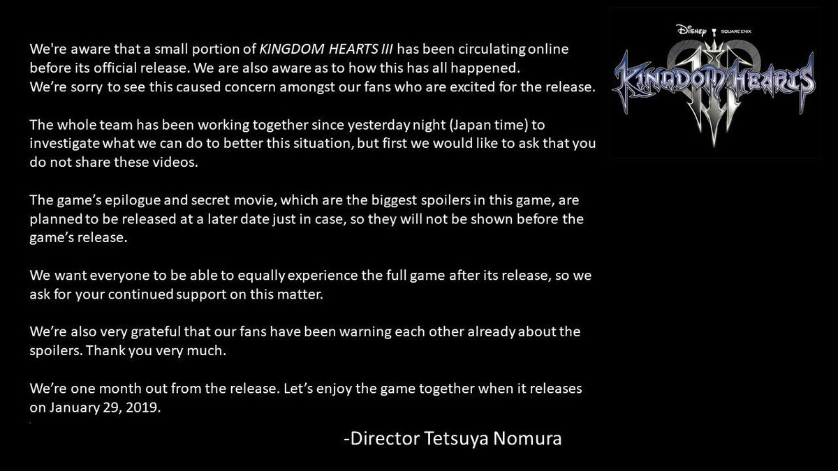 Kingdom Hearts 3 Director Releases Statement About The Leaked Early Copies