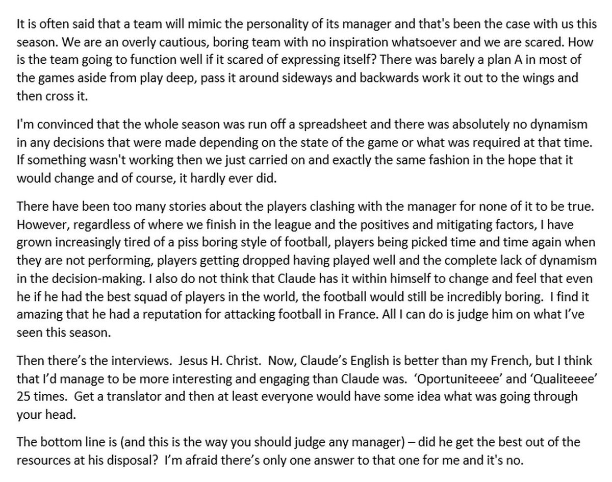 This was taken from a blog by a Southampton fan called Glen in May 2017 regarding Claude Puel. There's a haunting similarity from a current Leicester City perspective. Maybe this is just what he does and maybe he isn't really suited to the English game #lcfc #saintsfc