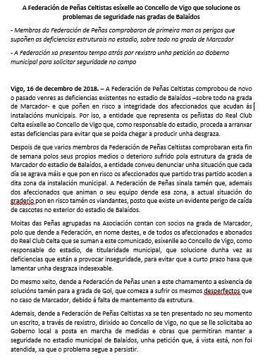 A Federación de Peñas Celtistas esixe seguridade no estadio de Balaidos.