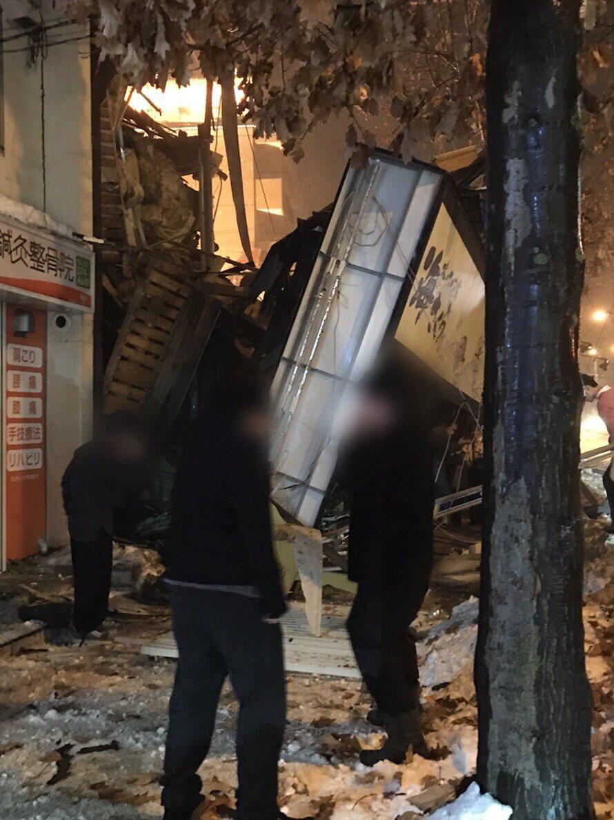 札幌市豊平区平岸3条の居酒屋「海さくら」で爆発事故の現場画像