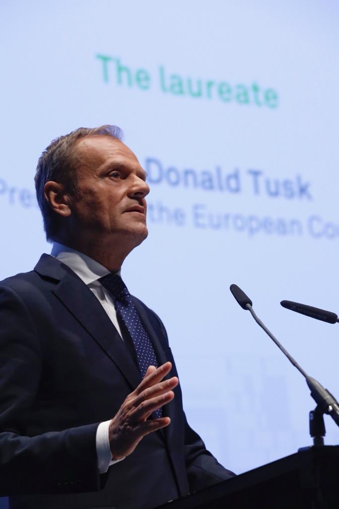 """Real victory means not giving-in to the logic of """"us"""" and """"them"""". The European Union – the way I understand it – is founded on positive thinking and positive values.  My acceptance speech today at the @TU_Dortmund: https://t.co/7v7aMNzUAN"""
