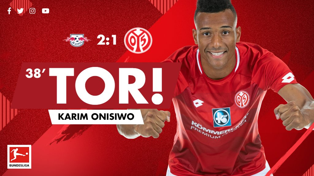 TOOOR! Flanke Öztunali, Karim Onisiwo ist zur Stelle. Der Anschlusstreffer für #Mainz05! #RBLM05 2:1