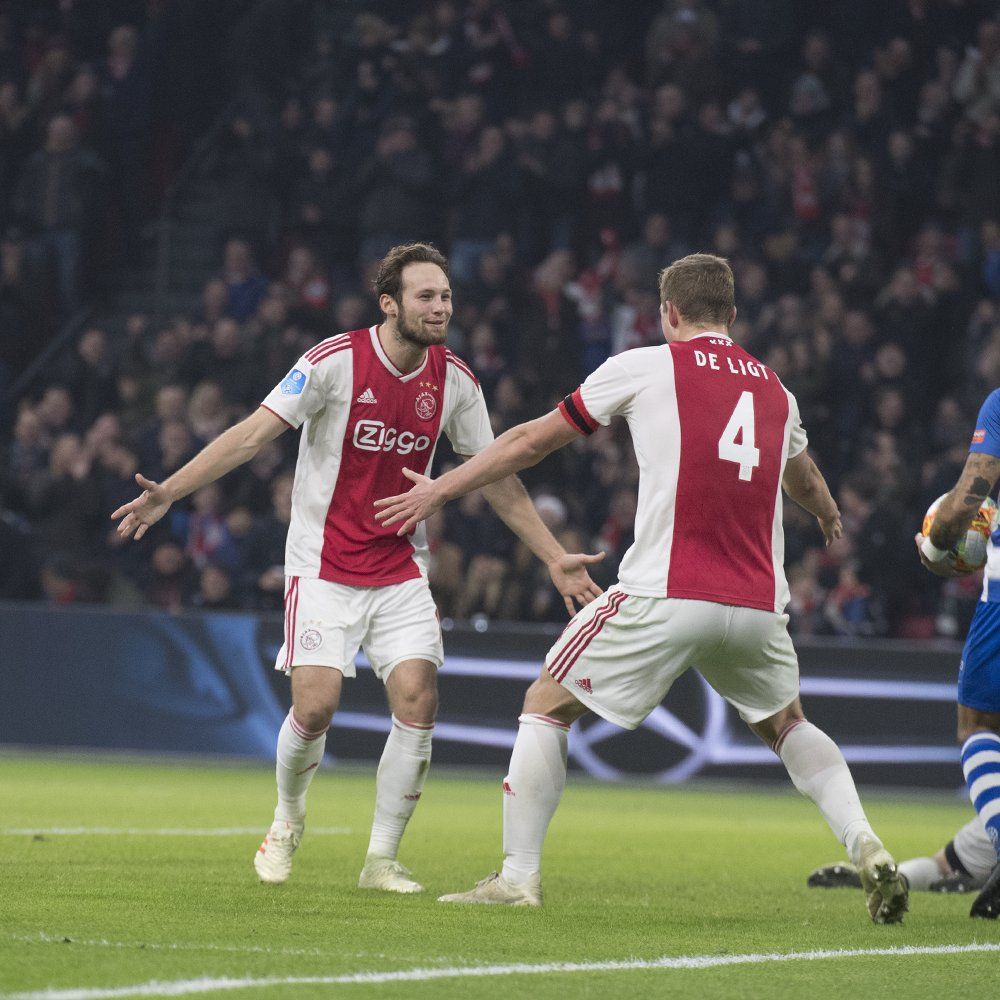 Daley Blind has scored the first senior hat-trick of his career.  65': ⚽️ Blind 74': ⚽️ Blind 90': ⚽️ Blind  Hakim Ziyech also scored a hat-trick in Ajax's 8-0 win.