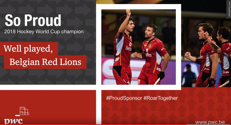 BELGIAN RED LIONS ARE WORLD CUP CHAMPIONS! Well played, boys! PwC is proud to sponsor the @Belgian Red Lions who blew away the competition in 2018 Hockey World Cup action in Bhubaneswar, India. Thanks for the thrills! #HWC2018  #pwcbelgium #proudsponsor (©http://PHDPH.com)