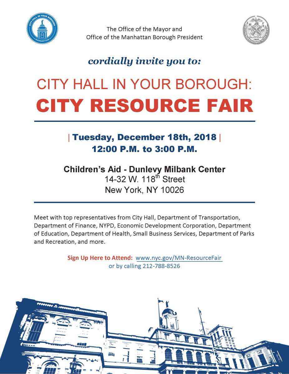 Join us Tuesday for a City Hall in Your Borough Resource Fair #inManhattan! This is a great opportunity to learn about resources available to you and get important questions answered from City agency leaders. RSVP at https://t.co/jcNQByYwHj