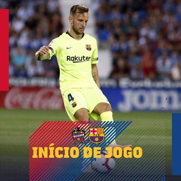 📍 Bola rolando em Valência! 🔝 ⚽️ #LevanteBarça (0-0) 🏆 @LaLiga   💪 #ForçaBarça 🔵🔴