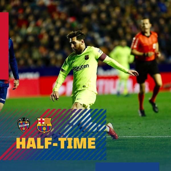📍 Akhir babak 1 di  Ciutat de València ⚽ #LevanteBarça (0-2) 👟 Suárez & Messi 🔴🔵 #ForçaBarça