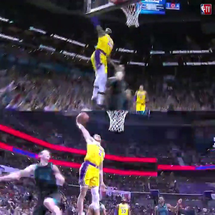 Triple-doubles weren't the only thing LeBron and Lonzo had in common last night. ��  #LakeShow https://t.co/WOZ0En8qRy