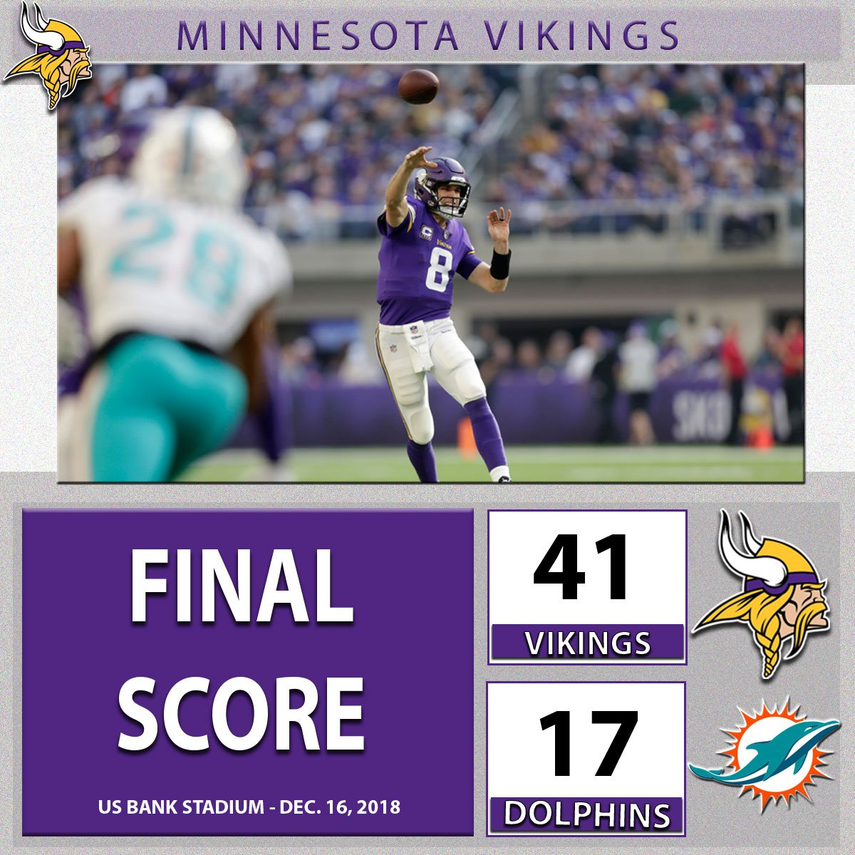 A commanding victory for the #Vikings in their first game under a new offensive coordinator. What did you think of the offense today?