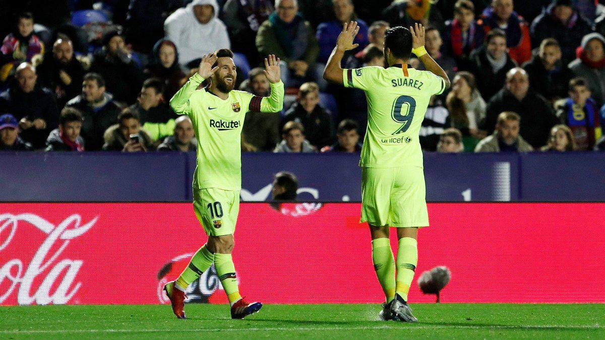 👑⚽️⚽️⚽️ Leo #Messi & @LuisSuarez9 ⚽️🔥 📷 #LevanteBarça (0-4)  💪 #ForçaBarça 🔵🔴