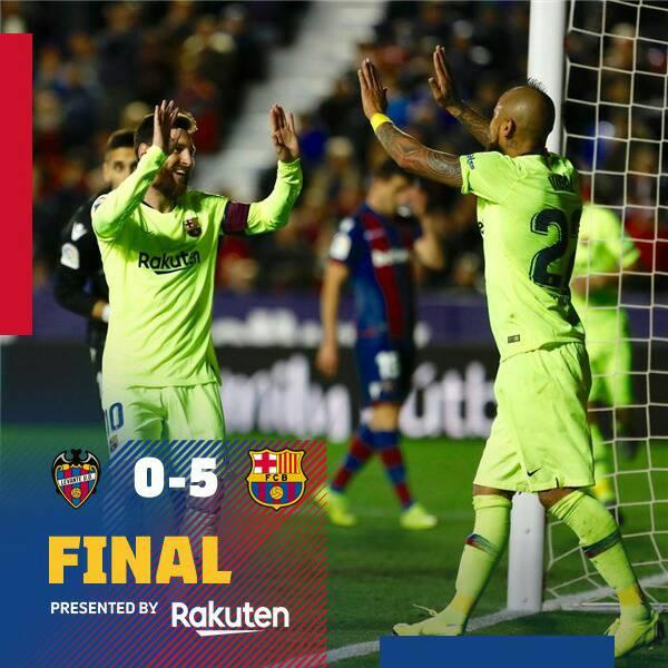 ⏰نهاية المباراة بخماسية نظيفة لبرشلونة🖐  ⚽#LevanteBarça(0-5) 💪#ForçaBarça 🔵🔴