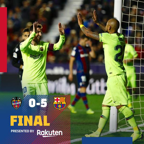📍 Fim de jogo em Valência! 🎉 ⚽️ #LevanteBarça (0-5) 🔝 👟 #Messi (3), @LuisSuarez9 & @3gerardpique 🙌  💪 #ForçaBarça 🔵🔴