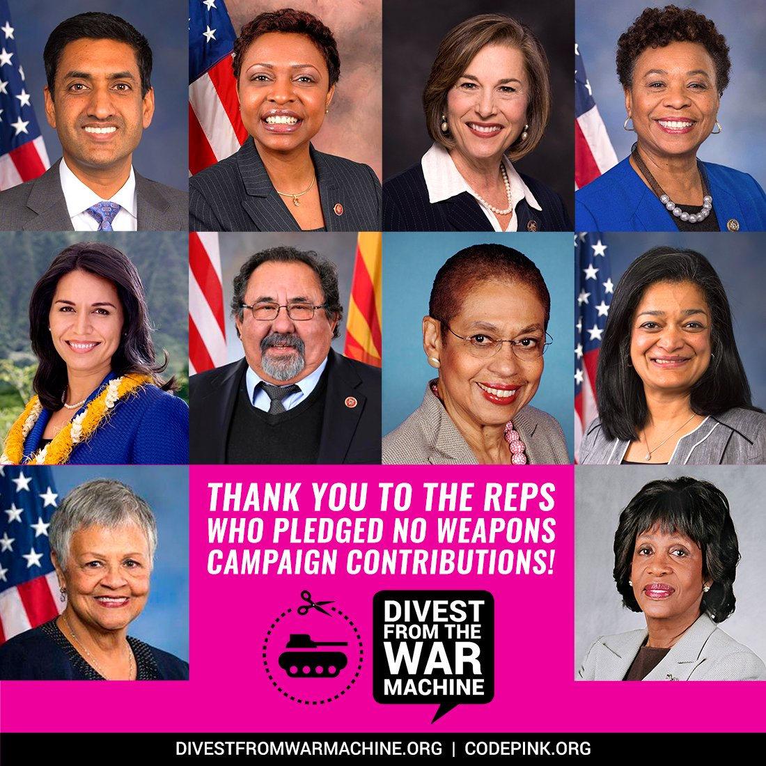 Since beginning our #DivestFromWar work, 11 Reps have pledged to not accept campaign donations from the top five weapons' manufacturers. Now that the Congressional landscape has changed, we need to ask new progressive members to sign the pledge: codepink.org/divest_from_wa…
