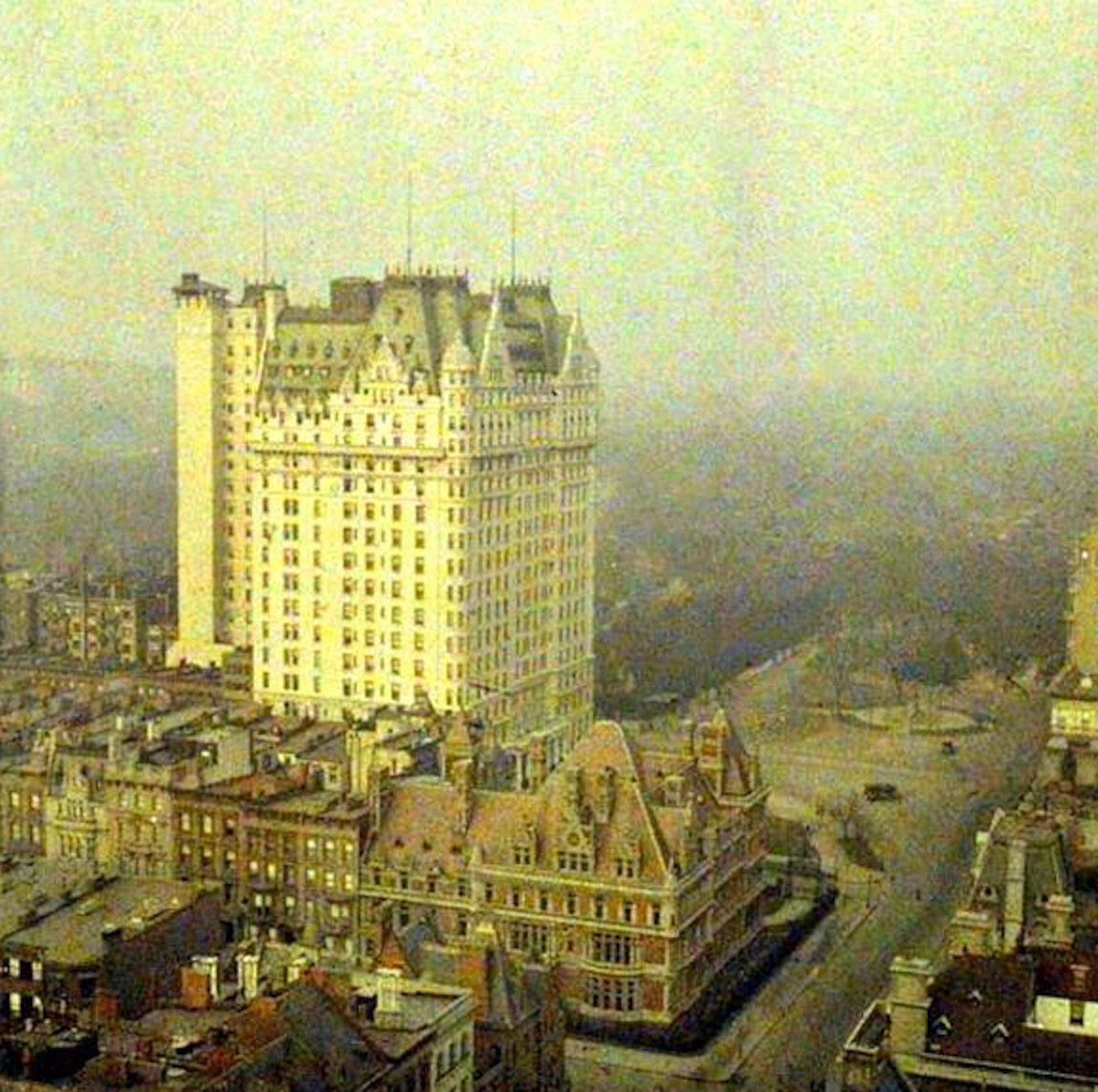 One of first color photographs ever taken of New York City—Plaza Hotel & Central Park, about 1908:    #Kahn