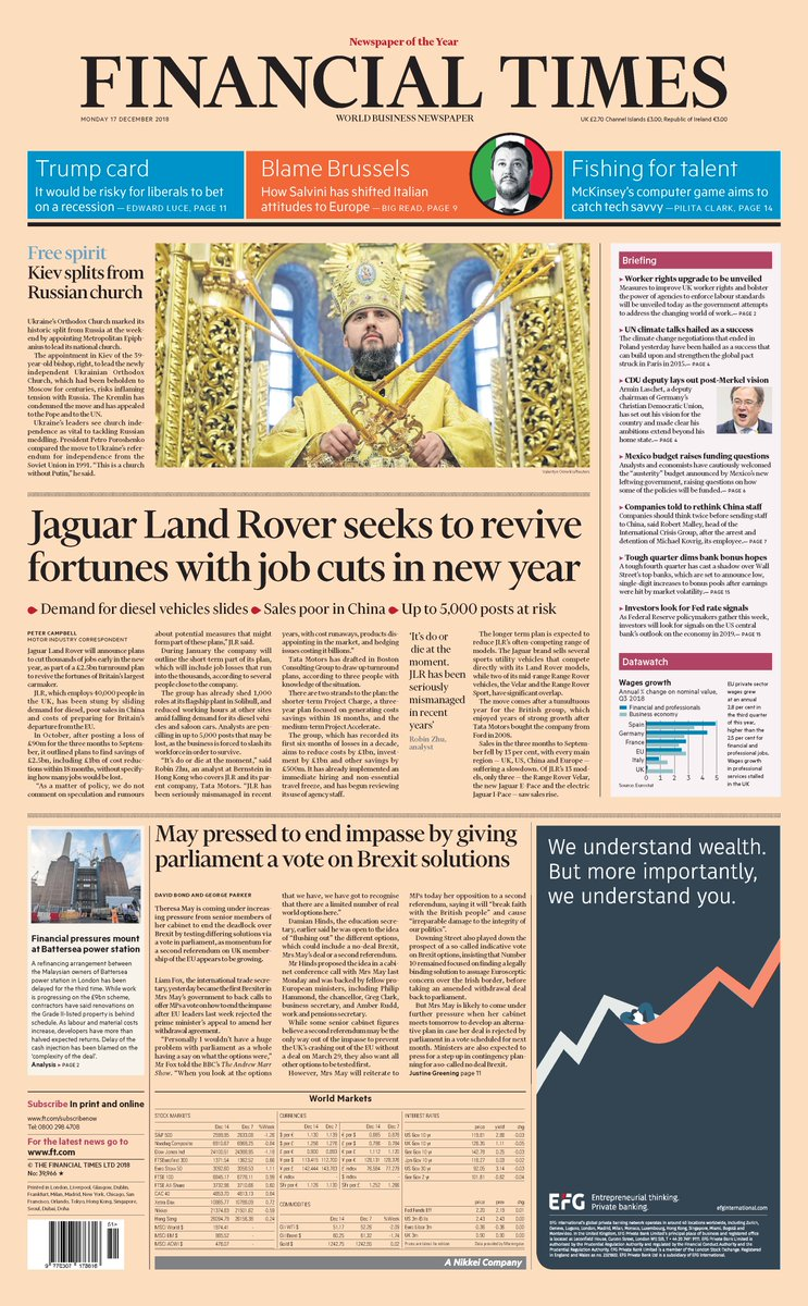 Just published: front page of the Financial Times, UK edition, Monday 17 December  https://t.co/YeLu8jfEeQ