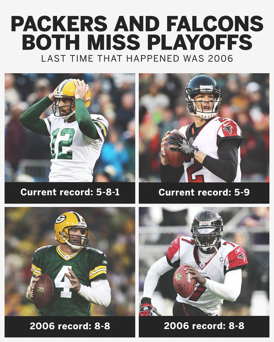 The last time the Packers and Falcons both didn't make the playoffs, Brett Farve and Michael Vick were both still under center.