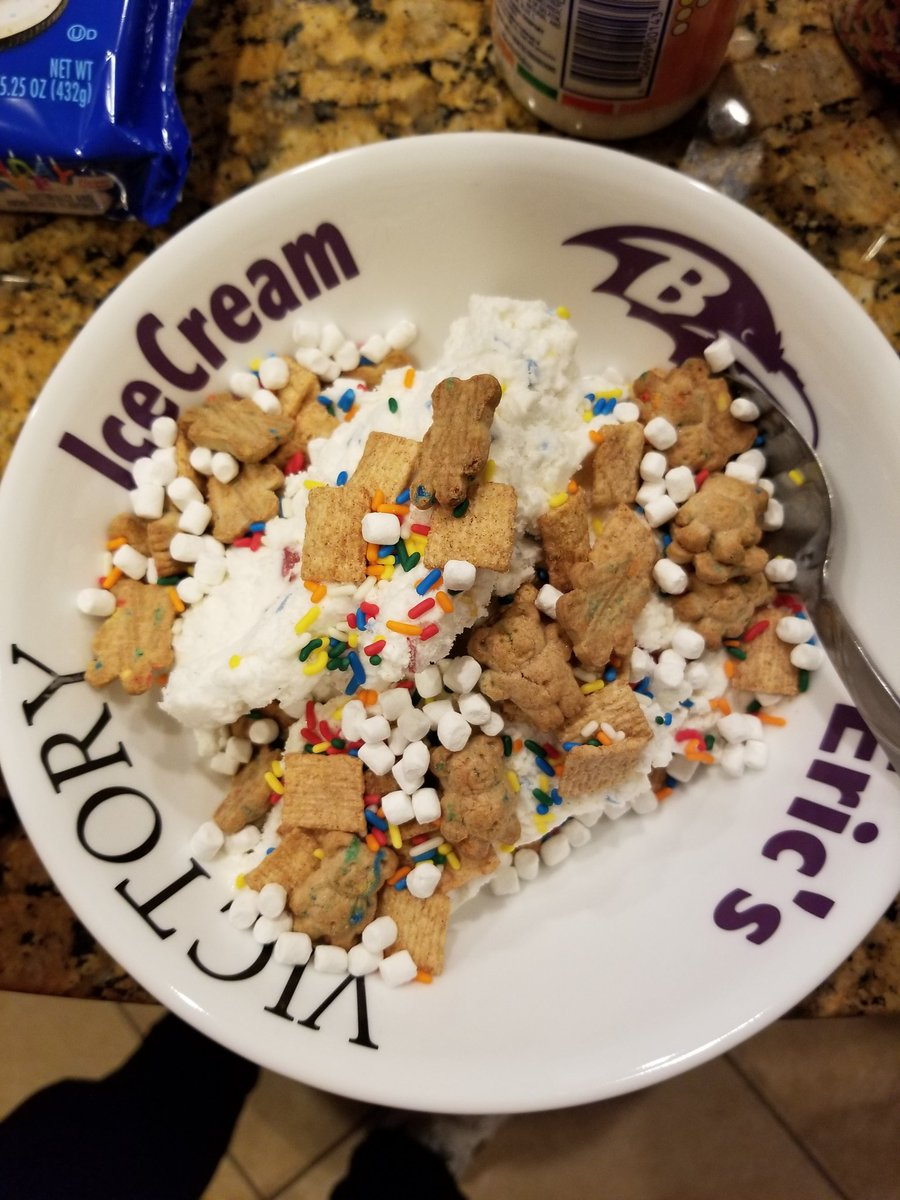 Superman Krypton Cookie Dough Ice Cream With Birthday Cake Teddy Grahams Cinnamon Toast Crunch Sprinkles And Marshmallows To Top It Off