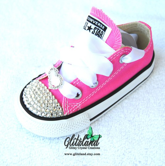 6cf922c186e8 Ready To Ship and 10% off Toddler PINK Size 5 C SWAROVSKI® Converse Chuck