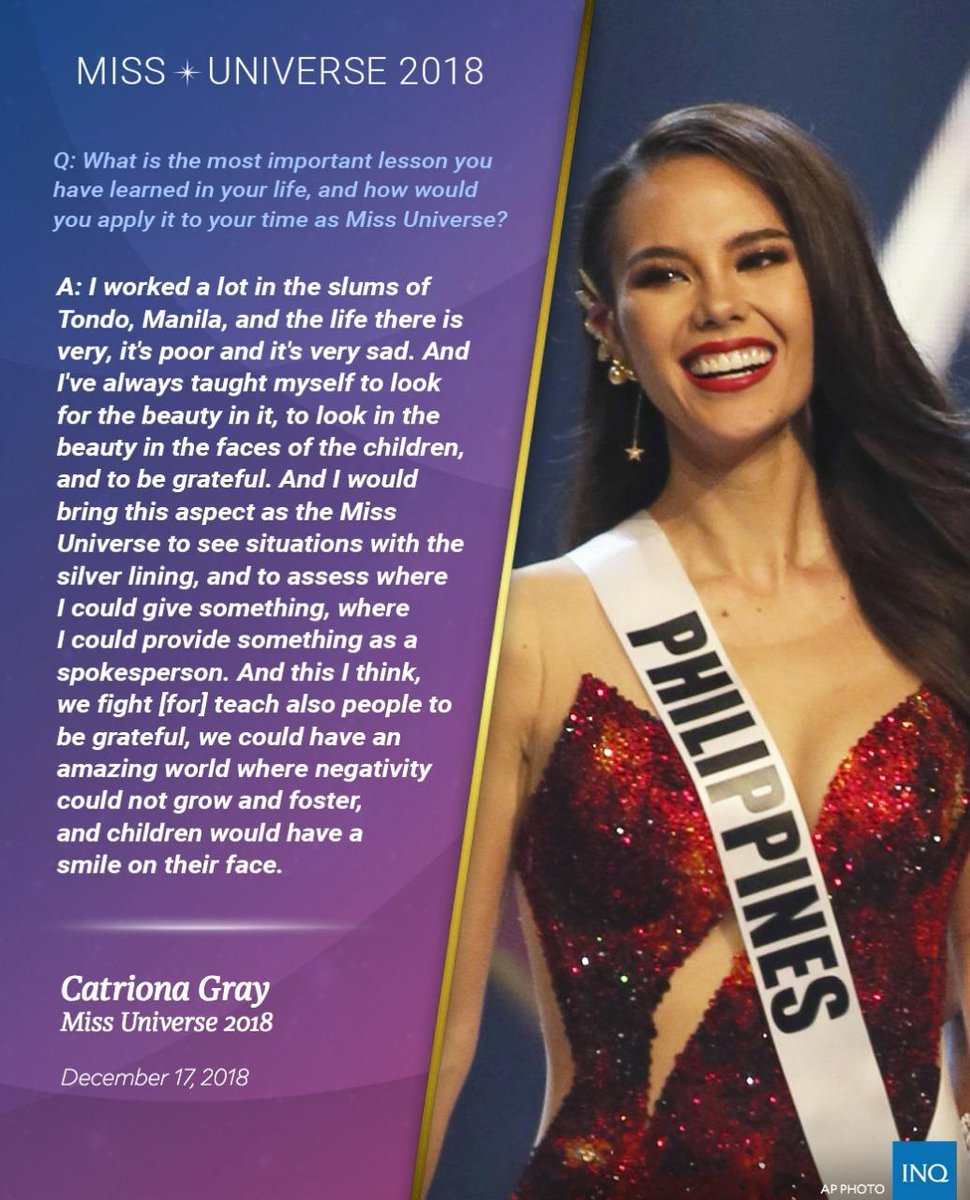 NEW QUEEN! Catriona Gray is #MissUniverse2018! 🇵🇭  Here's her winning answer! 👑
