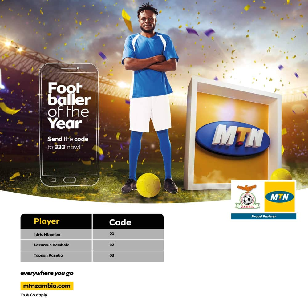 Help Vote for Tapson Kaseba as 2018 Player of the Year by sending 03 to 333 Our striker was the leading local player and scored a whooping 18 goals in the 2018 FAZ/MTN Super League.  #TONKATWEENDE