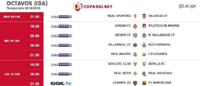 #Fútbol ⚽️ | #Horarios #CopaDelRey #Ida #Octavosdefinal 🏆  @sportinggijon 🆚 @valenciacf   📅 8 de enero ⏰ 21.30 horas  @VillarrealCF 🆚 @RCDEspanyol   📅 9 de enero ⏰20.30 horas  @LevanteUD 🆚 @FCBarcelona_es   📅 10 de enero ⏰ 21.30 horas  ▶️http://nostresport.com/futbol/item/48585-consulta-los-horarios-de-los-partidos-de-ida-de-los-octavos-de-copa.html…◀️