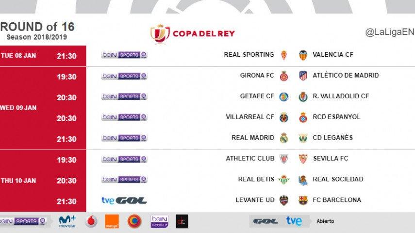 Official: Babak 16 besat leg 1 #CopadelRey.