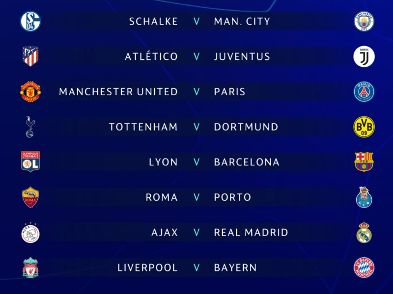 Here's the Champions League Round of 16 draw: https://t.co/QRJRUYQ1f9