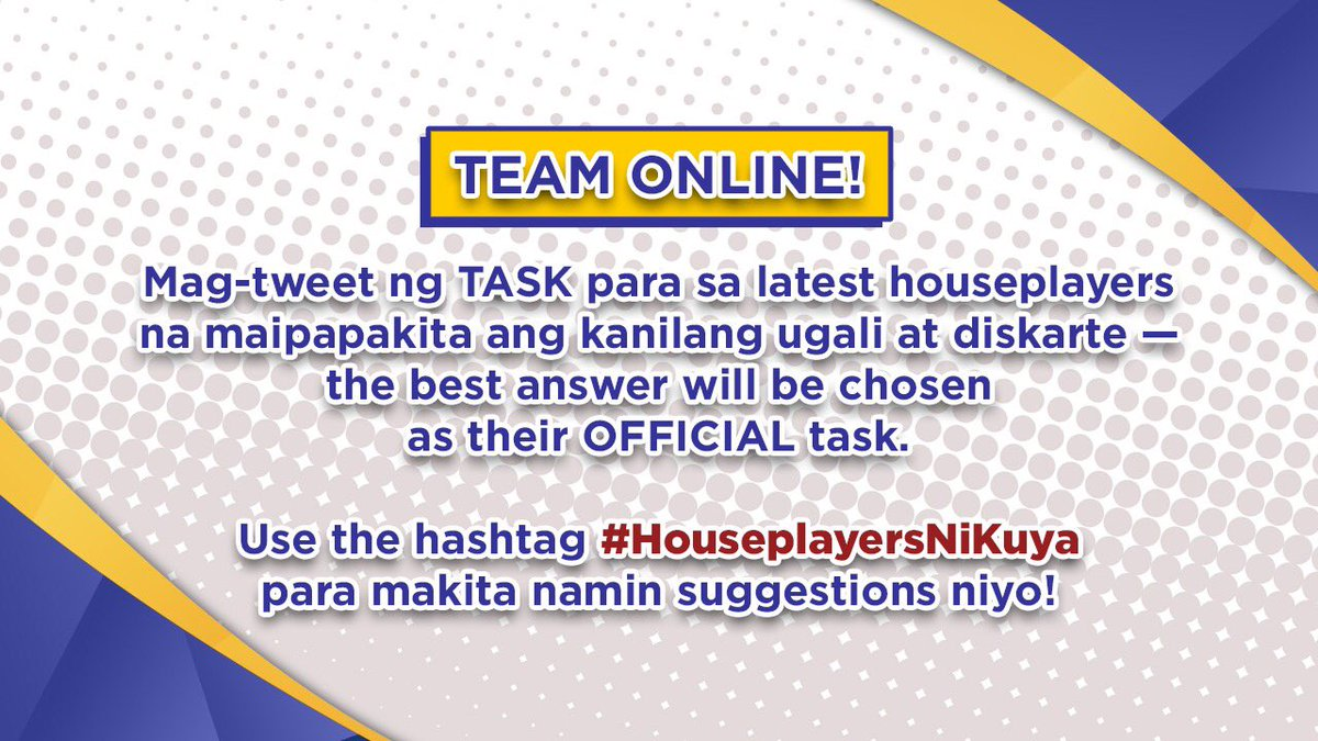 You heard it on Bring 8 On first! Tweet your task suggestions to #HouseplayersNiKuya 💙💪