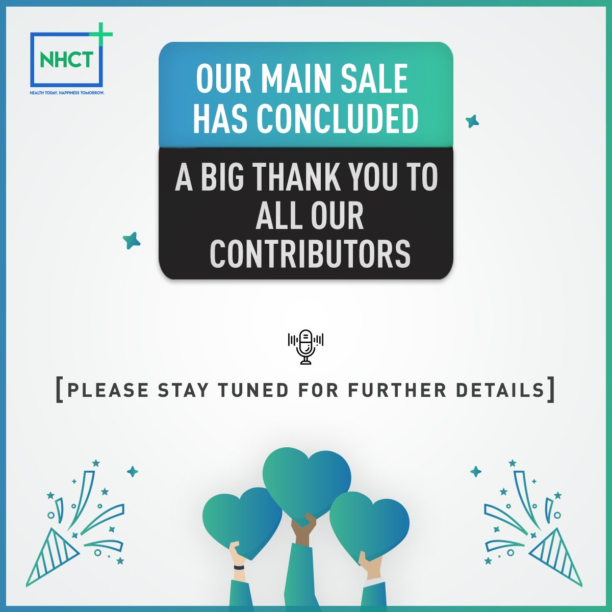 NHCT Main Sale has concluded. We want to thank all our contributors for their relentless support. Please stay tuned for further details. #NHCT #HealthCare #PersonalizedHealth #Wawa #Warma #PreventiveCare #Tokens #TotalHealth #cryptocurrency<br>http://pic.twitter.com/wgEzdrlijX