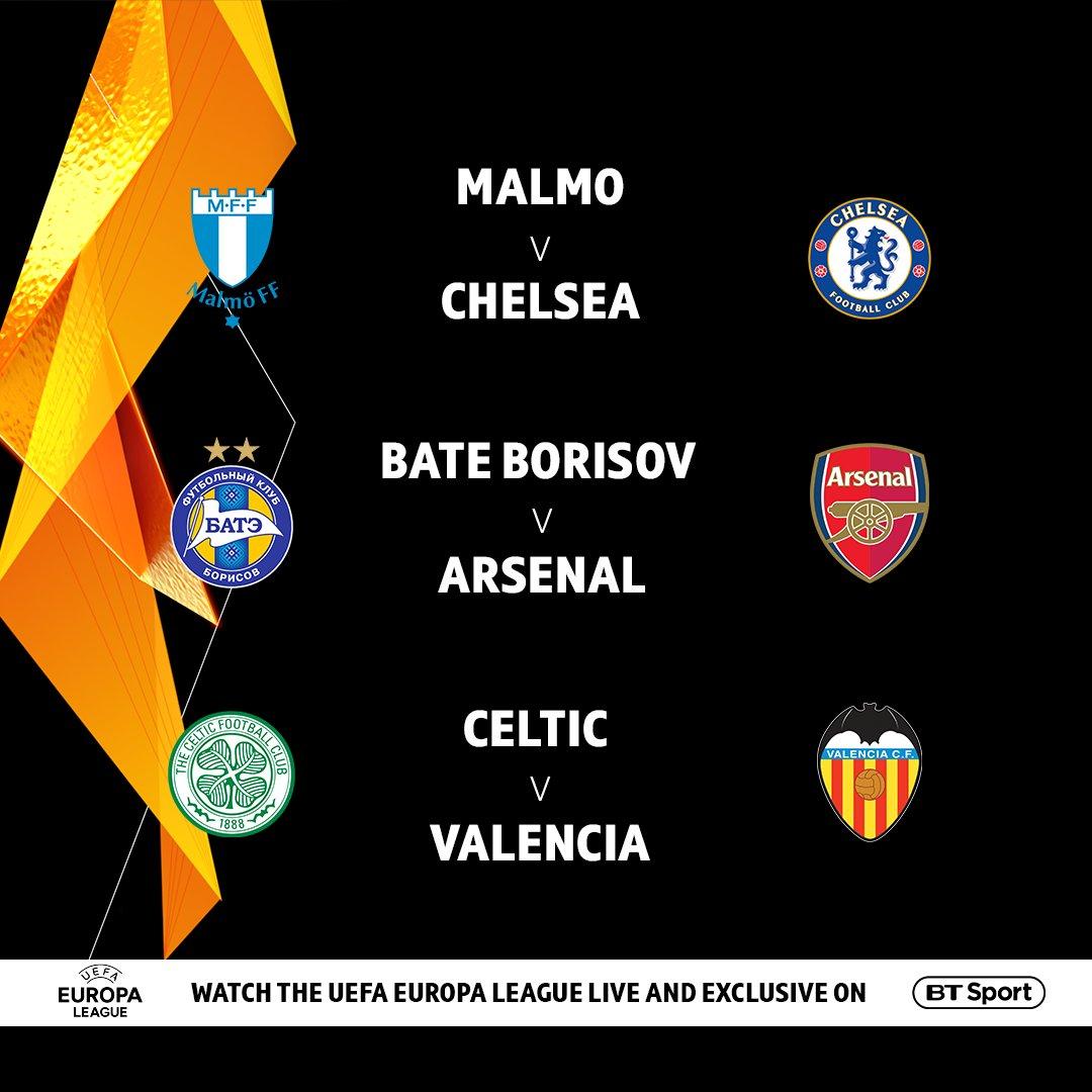 🇸🇪 Malmo vs Chelsea 🔵 🇧🇾 BATE Borisov vs Arsenal 🔴 🍀 Celtic vs Valencia 🇪🇸  Who are you backing to go furthest in the Europa League?