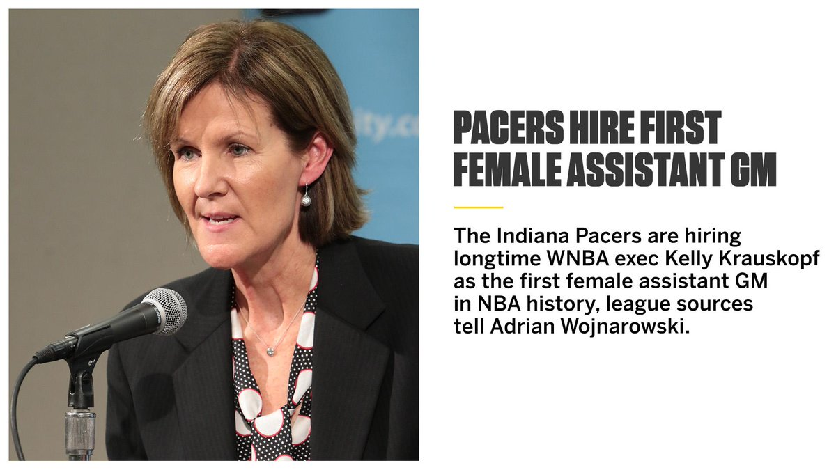 The Pacers are hiring longtime WNBA exec Kelly Krauskopf as the first female assistant GM in NBA history, league sources tell @WojVertichttps://t.co/XE7HpXD3pNalNBA:
