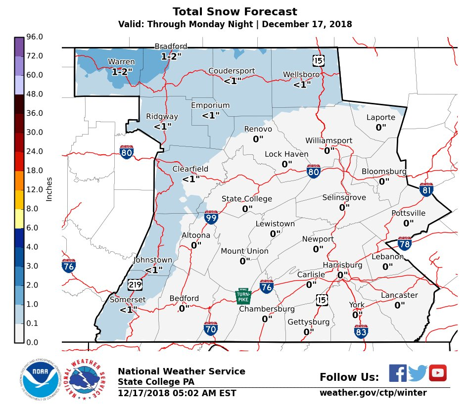 Nws State College On Twitter Early Week Cold Shot To Deliver Lake - Us-snow-belt-map